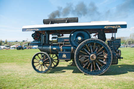footplate: Vintage steam traction engine on show at a country fair at Evesham,England Editorial