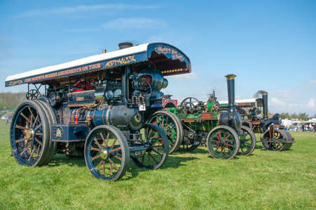 Vintage steam traction engine on show at a country fair at Evesham,England Editorial