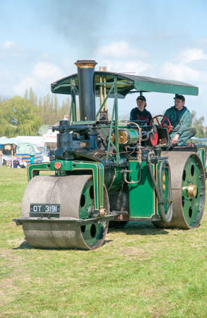footplate: Vintage steam Roller  on show at a country fair at Evesham,England