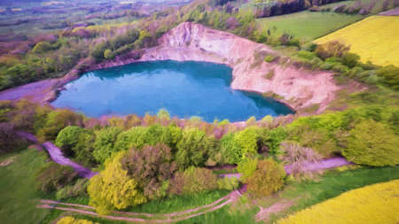disused: Aerial view of a heart shaped quarry Stock Photo