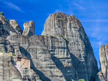 godly: The Monastery of St. Nicholas Anapausas is built on a sandstone pillar of rock in the area of Greece called Meteora.