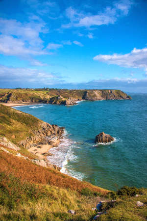peninsula: View of Three Cliffs Bay on the Gower Peninsula in South Wales,UK. Stock Photo