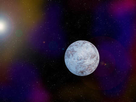 icy: The icy planet in outer space was created using digital editing software Stock Photo