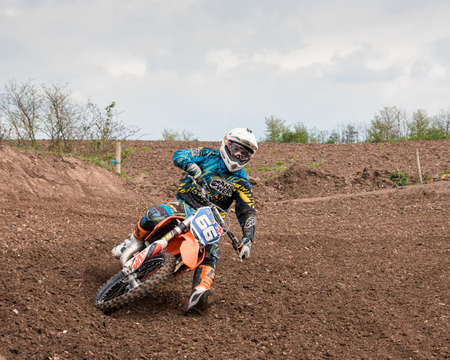 world sport event: Worcester,UK-April 24 2016 :A competitor taking part in a Motocross race.Motocross is an extreme sport with venues in many countries around the world. This was a free event with no photography restrictions. Editorial