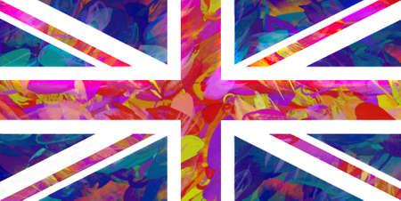 grunge union jack: Illustration of a colorful Union Jack flag