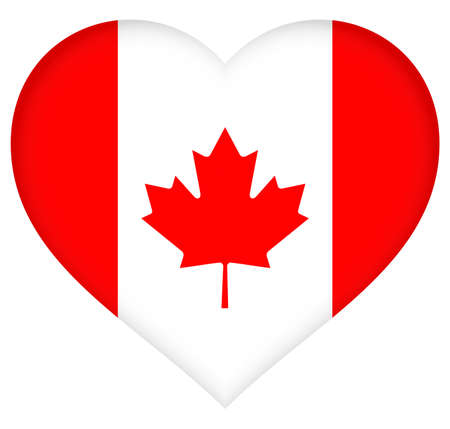 canadian flag: Illustration of the Canadian Flag in a heart shape