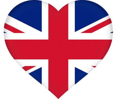 union jack flag: Illustration of a Union Jack flag that is heart shaped