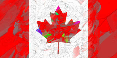 canadian flag: Illustration of the Canadian Flag with a colorful look Stock Photo