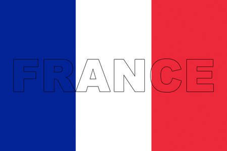 francaise: Illustration of the French flag with the word France showing on it. Stock Photo