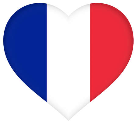 french culture: Illustration of the French Flag shaped like a heart