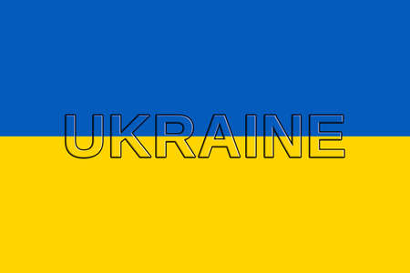 sovereignty: Illustration of the national flag of  Ukraine with the word Ukraine on the flag