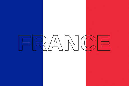 francaise: Illustration of the national flag of  France with the word France on the flag Stock Photo