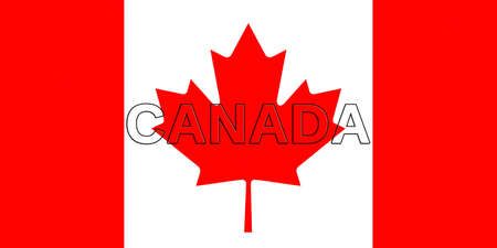 Illustration of the national flag of  Canada with the word Canada   on the flag Stok Fotoğraf