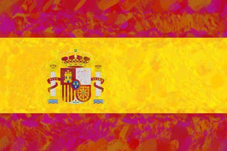 sovereignty: Illustration of the national flag of Spain with a colorful look.