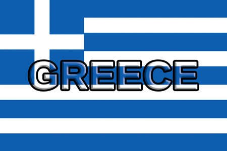 Illustration of the national flag of Greece with the word Greece written on the flag