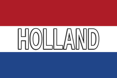 dutch culture: Illustration of the national flag of Holland with the word Holland written on the flag