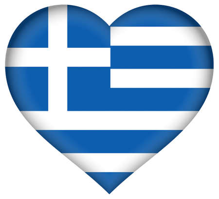 hellenic: Illustration of the national flag of Greece shaped like a heart