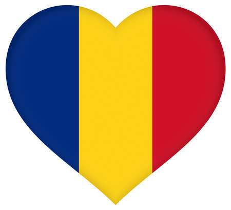 sovereignty: Illustration of the flag of Romania shaped like a heart Stock Photo