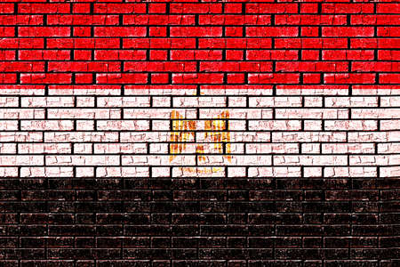 like it: Illustration of the Flag of Egypt made to look like it has been painted onto a wall graffiti style.