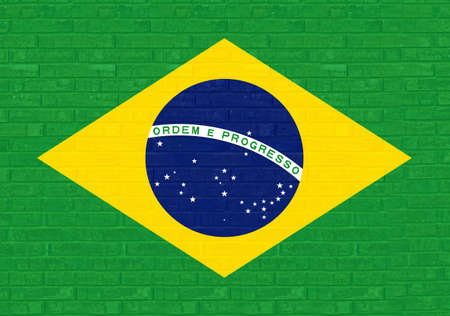 sovereignty: Illustration of the Brazilian flag made to look like it is painted onto a wall Graffiti style. As this is an illustration there is no original photo