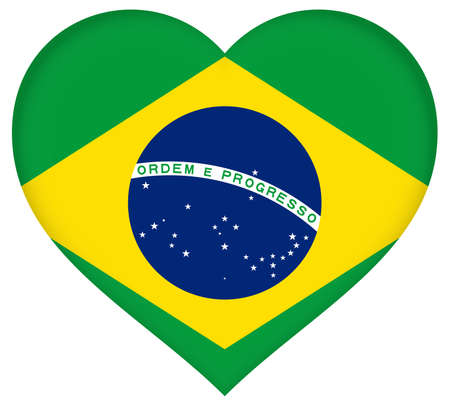 sovereignty: Illustration of the flag of Brazil shaped like a heart