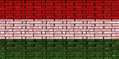 sovereignty: Illustration of the National flag of Hungary made to look like it is painted onto a wall like graffiti Stock Photo