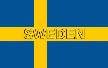 sverige: Illustration of the flag of Sweden with the word Sweden written on the flag.