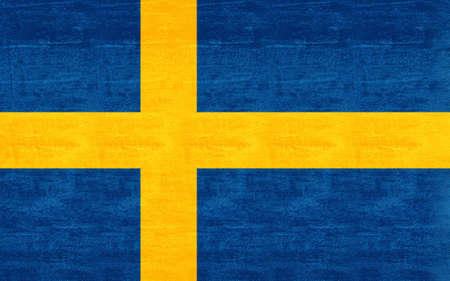 sverige: Illustration of the Flag of Sweden with a  grunge look