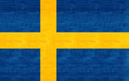 sverige: Illustration of the Flag of Sweden with a  grunge look