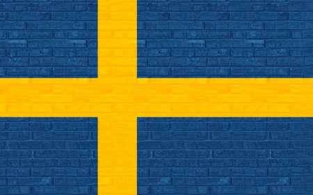 like it: Illustration of the flag of Sweden made to look like it has been painted on a wall graffiti style Stock Photo