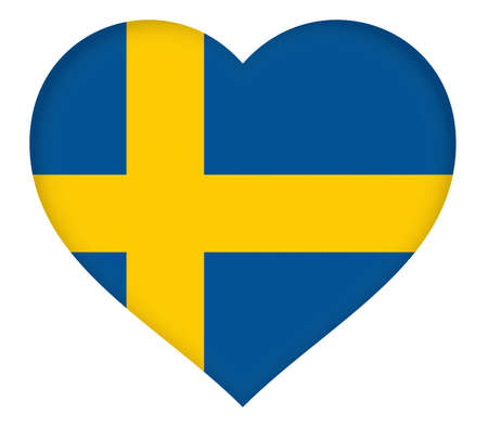sverige: Illustration of the flag of Sweden shaped like a heart.