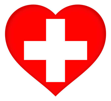 Illustration of the flag of Switzerland shaped like a heart.