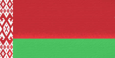 sovereignty: Illustration of the flag of Belarus made to look like it is painted onto a wall like graffiti Stock Photo