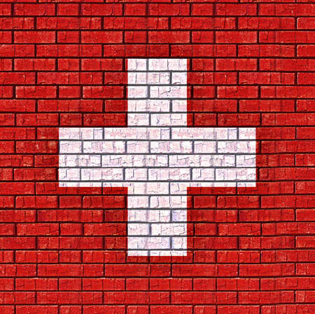 like it: Illustration of the flag of Switzerland made to look like it is painted on a wall like graffiti Stock Photo