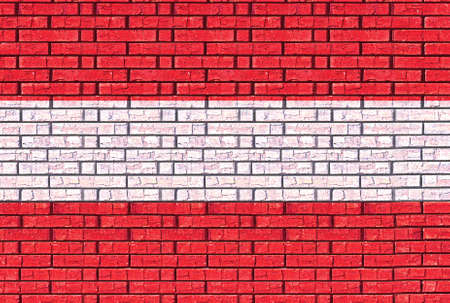 like it: Illustration of the flag of Austria made to look like it has been painted onto a wall like graffiti Stock Photo