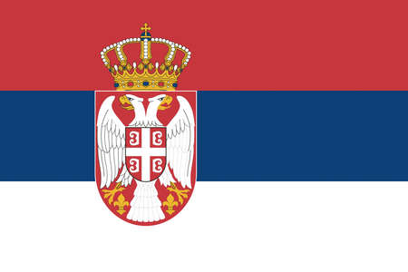 serbia: Illustration of the national flag of Serbia.