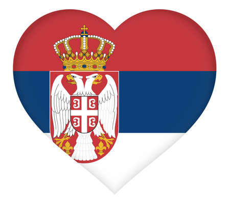Illustration of the national flag of Serbia shaped like a heart.