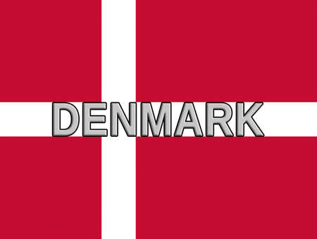 sovereignty: Illustration of the national flag of Denmark with the country written on the flag. Stock Photo