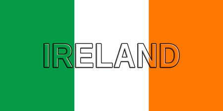 irish pride: Illustration of the flag of Ireland with the country written on the flag