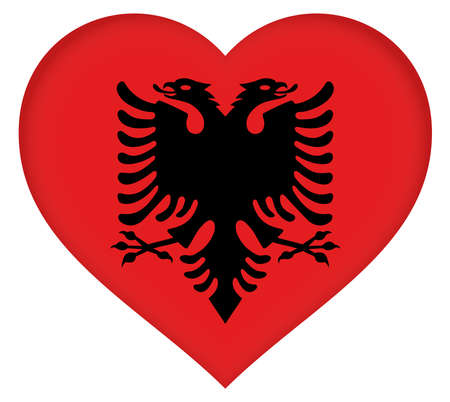 double headed: Illustration of the flag of Albania shaped like a heart
