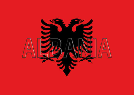 double headed: Illustration of the flag of Albania with the country written on the flag.