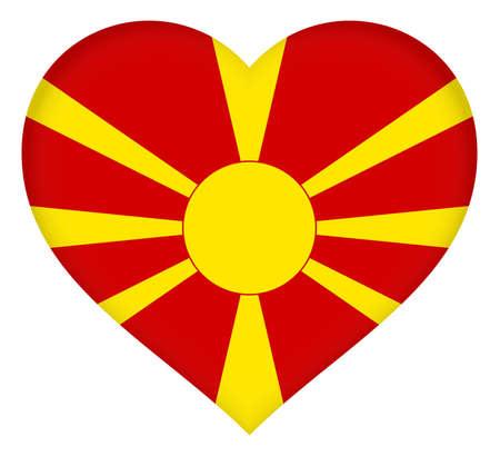 Illustration of the flag of Macedonia shaped like a heart