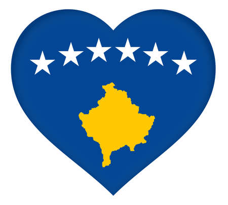 sovereignty: Illustration of the flag of Kosovo in the shape of a heart. Stock Photo