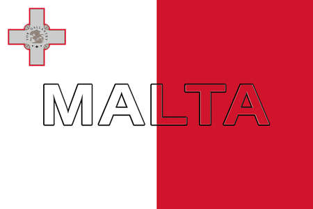 sovereignty: Illustration of the national flag of Malta with the country written on the flag. Stock Photo