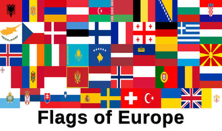 all european flags: Illustration of all the flags of the European Countries