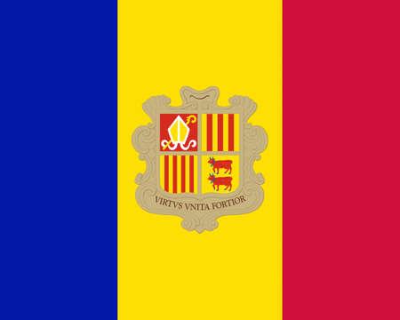 andorra: Illustration of the national flag of Andorra Stock Photo