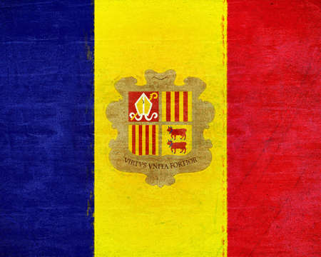 sovereignty: Illustration of the national flag of Andorra with a grunge texture
