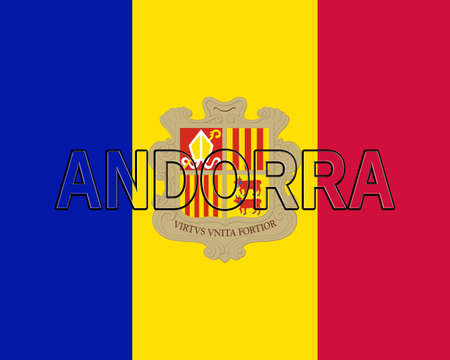 sovereignty: Illustration of the national flag of Andorra with the country written on the flag Stock Photo