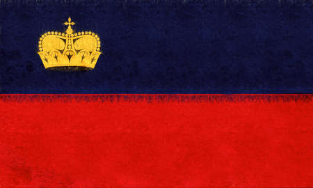 Illustration of the national flag of Liechtenstein with a grunge texture