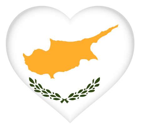 eurasian: Illustration of the national flag of Cyprus shaped like a heart